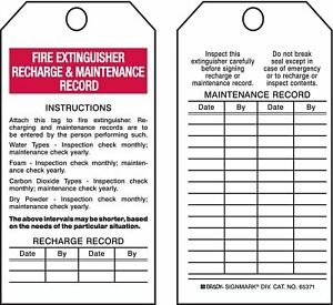 Brady Economy Polyester Instructions Attach This Tag To Fire Extinguisher