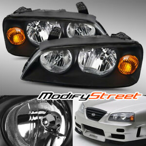 Black Diamond Crystal Headlights Assembly For 2004 2005 2006 Hyundai Elantra