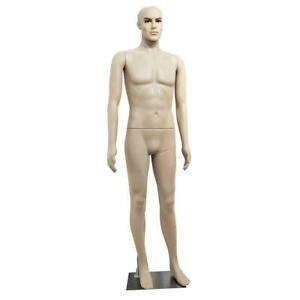 Full Body Male Mannequin Realistic Display Head Turns Dress Form Plastic Wbase