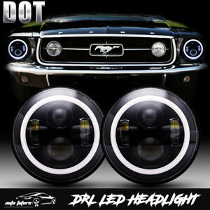 Dot Cree Led Hi Lo Projector 7 Inch Round Headlights For Ford Mustang 1965 1978