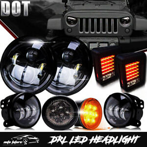7 Led Headlight Fog Turn Signal Light Tail Light Combo Kit For Jeep Wrangler Jk