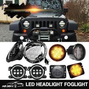 Jeep Wrangler Jk 07 17 7 Inch Led Headlight W Fog Turn Signal Lamp tail Light
