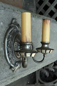 Antique Brass Two Candle Sconce With Garland