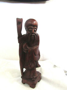 Large 8 Vintage Chinese Wood Figurine Hand Carved Immortals Antique