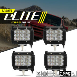 4x Tri row 4 inch Led Work Light Bar Flood Pods Offroad 4wd Atv Jeep Truck Boat