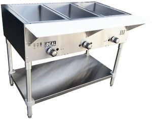 New Commercial Gas 3 Well Aerohot Steam Tables Made In Usa By Ideal Etl Listed