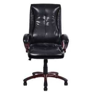 Black Pu Leather Ergonomic Office Executive Computer Desk Task Office Chair