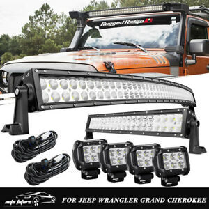 50 Curved Led Light Bar Upper 20 22 4 18w Pods Jeep Wrangler Grand Cherokee