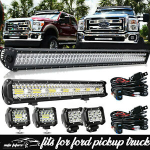Ford F150 F250 F350 Super Duty 50 Led Curved Light Bar 22 4x 18w Pods Combo