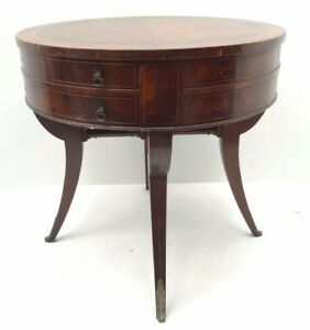 Antique Table Wood Round Dovetail Drawer Heirloom Quality Weimat Tables 8001 Old