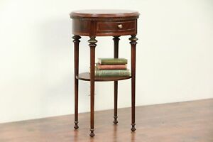Walnut Burl Banded Antique Oval Nightstand Or End Table 29383