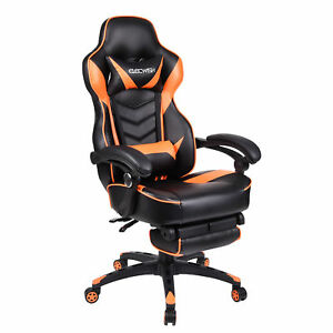 Office Gaming Chair Racing Ergonomic Pu Leather High Back Computer Seat Orange