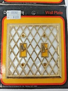 Two 2 New American Tack Hardware Brass Mother Of Pearl Light Switch Covers