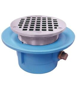 3 No Hub Code Blue Slab Drain With 7 Pan And 5 Chrome Plated Round Strainer