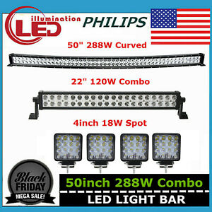 50inch 288w Curved Led Work Light Bar Combo Offroad Truck 18w 4 Spot 120w 48 52