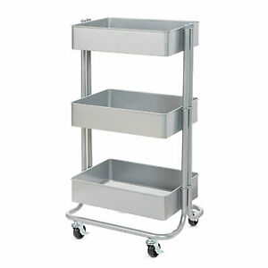 Darice 3 tier Metal Rolling Cart Gray