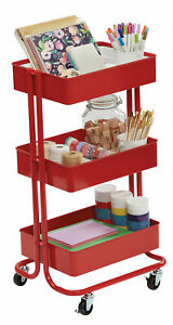 Darice 3 tier Metal Rolling Cart Red