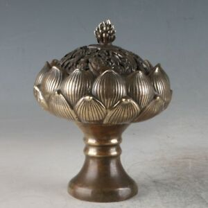 Chinese Antiques Bronze Handmade Lotus Incense Burners
