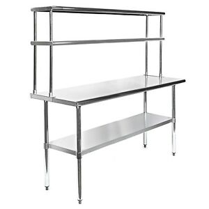 Commercial Stainless Steel Prep Work Table 30 X 60 With Double Overshelf 12 X 60