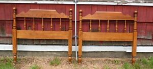 Vintage Pair Ethan Allen Maple Birch Early American Twin Cannonball Headboards