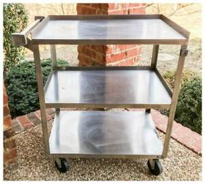 Stainless Steel 3 Shelf Rolling Medical cooking Cart By Lakeside Mfg