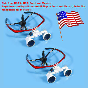 2 Magnifier Dental Surgical 3 5x Binocular Loupes Optical Glasses Red Us To Bra