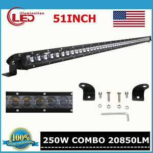 Slim 41inch 200w Led Light Bar Single Row Driving Truck Offroad 4d Lens Ford 40