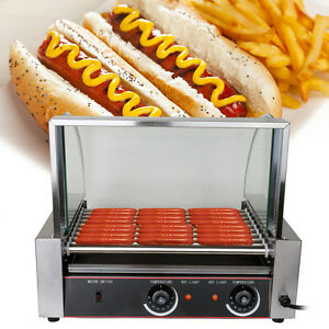 Commercial 24 Hot Dog Hotdog 9 Roller Grill Cooker Machine W Glass Cover