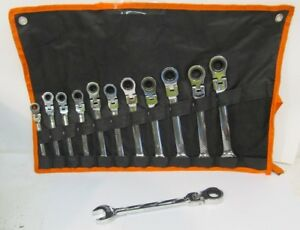 Flex Head Combination Ratcheting Wrench 12pc Set 8 19mm 12 Point Chrome