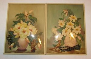 2 Vintage Reverse Painted Convex Bubble Glass Metal Frame Flower Pictures