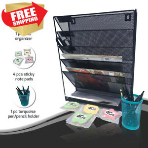 Metal Mesh Wall Organizer File Holder With Post It Sticky Note Pad And