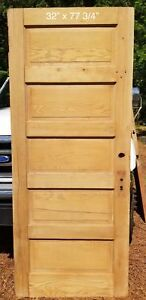 32 X 77 3 4 Raised 5 Panel Pine Bedroom Vintage Door