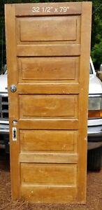 32 1 2 X 79 Raised 5 Panel Pine Bedroom Vintage Door