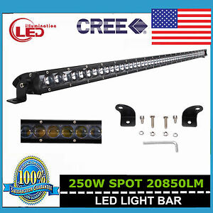 Slim 51 250w Cree Single Row Spot Led Light Bar 4d Lens Boat Jeep Truck 52 50