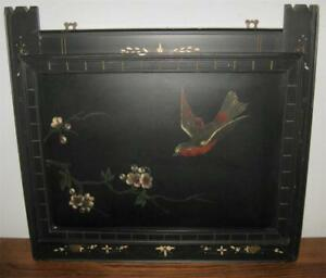 19c Victorian Eastlake Black Lacquer Wall Pocket 17x16 Bird Blossoms Aesthetic