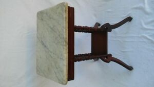 Beautiful Marble Topped Antique Small Table Dated May 29 1888