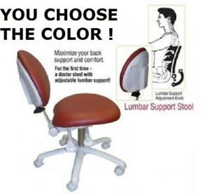Galaxy 2250 Lumbar Support Dental Assistant Stool Doctor s Chair 17 Colors