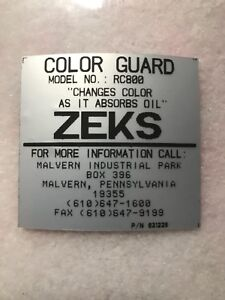 Zeks Color Guard Rc800 Filter changes Color As It Absorbs Oil new