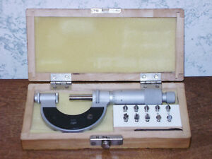 Fowler 0 1 Inch Thread Pitch Micrometer W 5 Anvil Sets Made In Poland