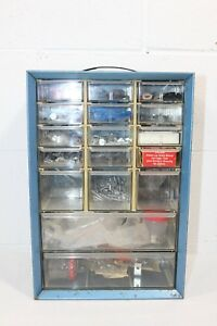 Vtg Akro mils 17 Drawer Small Parts Organizer Cabinet Stocked W Goodies