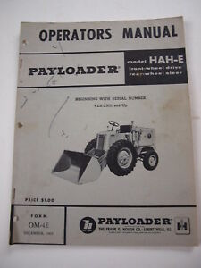 Ih International Hough Hah e Front end Wheel Pay Loader Tractor Operators Manual