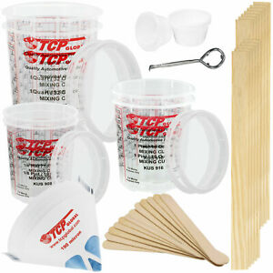 Paint Mixing Kit Mixing Cups Lids Sticks Paddles Strainers Can Opener