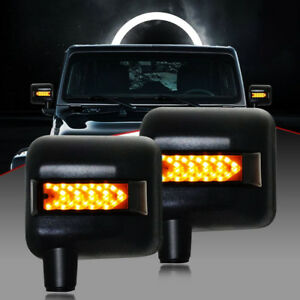For Jeep Wrangler Jk 2007 17 Led Rearview Mirror Front Headlight W drl Spot Turn