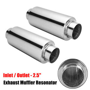2x Universal Exhaust Muffler Resonator 304 Stainless Steel 2 5 Inelt Outlet