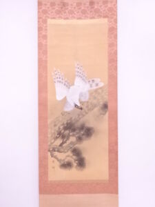 3761794 Japanese Wall Hanging Scroll Hand Painted White Hawk Artisan Work