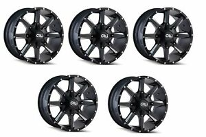 Cali Off road 9100 2952m18 Set Of 5 Busted 20x9 Satin Black milled Spokes Wheels