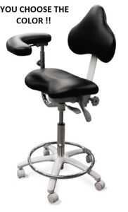 Galaxy 2025 Contoured Seat Dental Assistant Medical Stool Chair W Back Rest