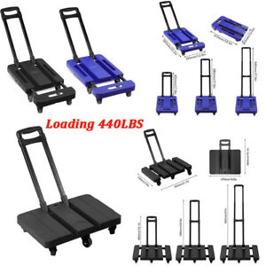 440lb Hand Truck Flat Cart Dolly Collapsible Cart Luggage Trolley With 6 Wheels