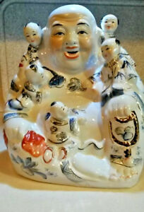 Stunning 20th C Chinese Famille Rose Laughing Buddha With Five Kids Large