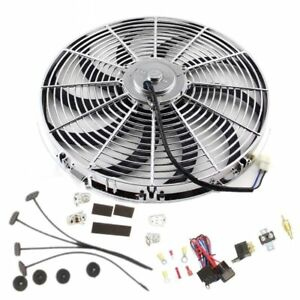 16 Chrome Electric Curved Blade Cooling Fan Relay Thermostat Install Kit